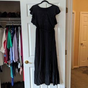 Who What Wear Black Embroidered Maxi Dress